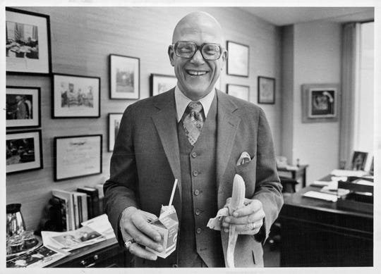 Richard Rosenbaum, eating lunch in 1981.