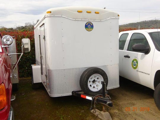 This cargo trailer containing firefighting equipment was stolen sometime Friday night from a crew battling the Milepost 97 Fire in Oregon.