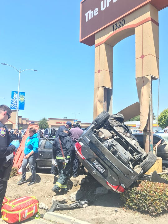 Salinas police are investigating a rollover crash on South Main Street near Blanco Street that left a dog dead and two young men hospitalized July 27, 2019.