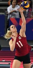 USA's Annie Drews serves in a match earlier this year.