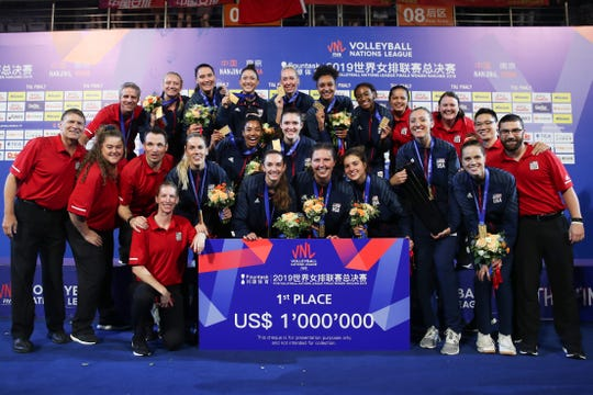 The USA Women's Volleyball Team won the FIVB Nations League title and a $1 million prize by defeating Brazil in Nanjing, China