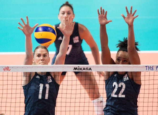 USA Women's Volleyball players Annie Drews and Haleigh Washington block a shot from Poland in a match earlier this year.