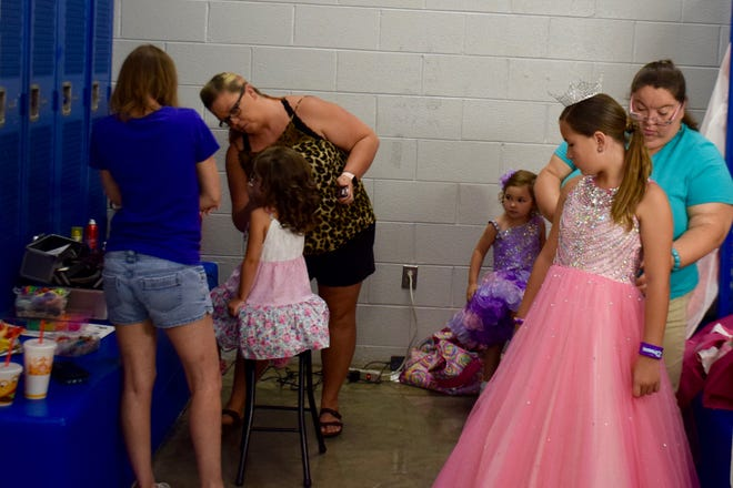 Getting ready at the Miss Augusta County Fair Pageant on July 27, 2019.