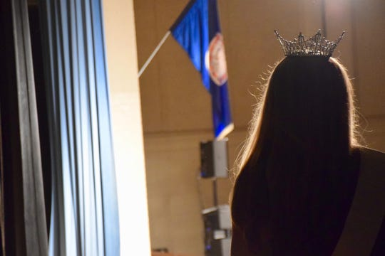 A pageant queen watches the Miss Augusta County Fair Pageant on July 27, 2019.
