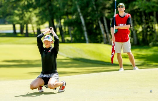 Jillian Bourdage reacts after missing her birdie putt on the 36th hole during the final round at the U.S. Girls Junior Championship on Saturday at SentryWorld in Stevens Point.