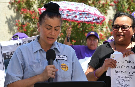 Dawn Sexton is one of hundreds of low-paid Tulare County employees. She called on the Board of Supervisors to pay its service workers a living wage in line with neighboring counties at a Friday protest.