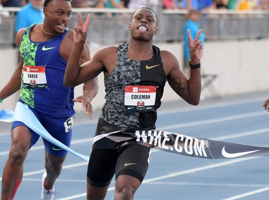 Christian Coleman wins the 100-meter final in 9.99 seconds at the U.S. Outdoor Championships.