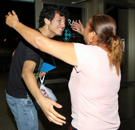 Francisco Galicia, left, greets his mother Sanjuana Galicia at the McAllen, Texas, Central Station, July 24, 2019. Galicia, an 18-year-old man who was born in the U.S., was released Tuesday, July 23, from federal immigration custody after wrongfully being detained for more than three weeks.