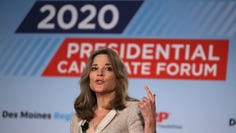 SIOUX CITY, IOWA - JULY 19: Democratic presidential hopeful author and activist Marianne Williamson speaks during the AARP and The Des Moines Register Iowa Presidential Candidate Forum on July 19, 2019 in Sioux City, Iowa. (Photo by Justin Sullivan/Getty Images) ORG XMIT: 775373296 ORIG FILE ID: 1163042761