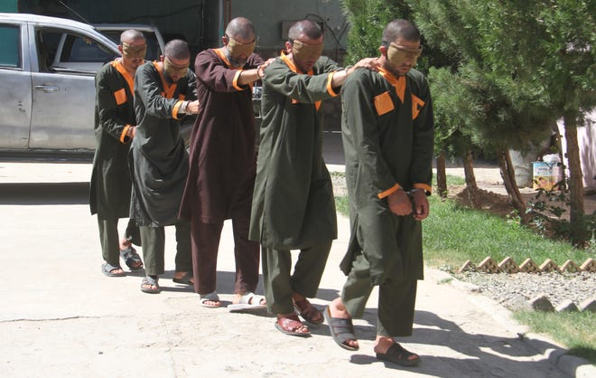 Suspected Taliban militants who were arrested during different operations in Ghazni, Afghanistan, on July 8, 2019. Fifteen Taliban members were arrested and one was killed by Afghan security forces during an operation in several parts of the city.