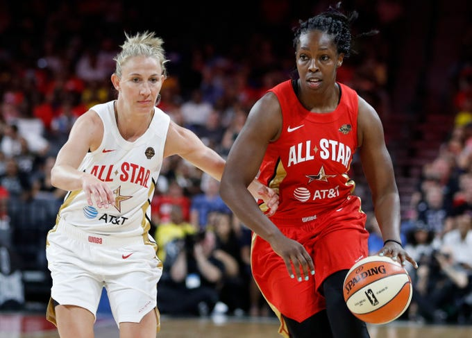 The Los Angeles Sparks' Chelsea Gray, of Team Wilson, drives around the Chicago Sky's Courtney Vandersloot, of Team Delle Donne, during the second half.