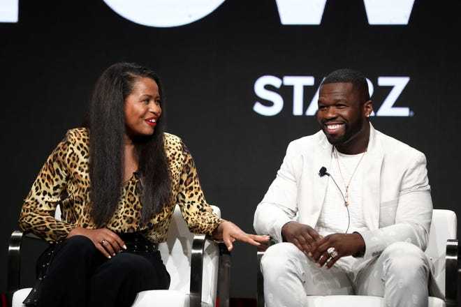 """Power"" executive producers Courtney Kemp, left, and Curtis ""50 Cent"" Jackson talk about the final season of their Starz series at the Television Critics Association summer press tour."