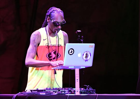 Rapper/actor Snoop Dogg DJ's as he performs during the WNBA All-Star Game 2019 beach concert at the Mandalay Bay Beach at Mandalay Bay Resort and Casino on July 26, 2019 in Las Vegas, Nevada.