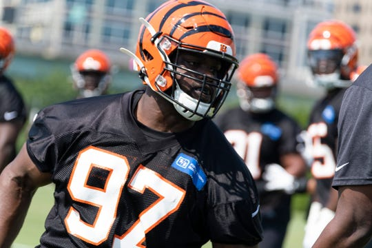 Cincinnati Bengals defensive tackle Geno Atkins participates in drills during training camp at Paul Brown Stadium on Sunday July 28, 2019.