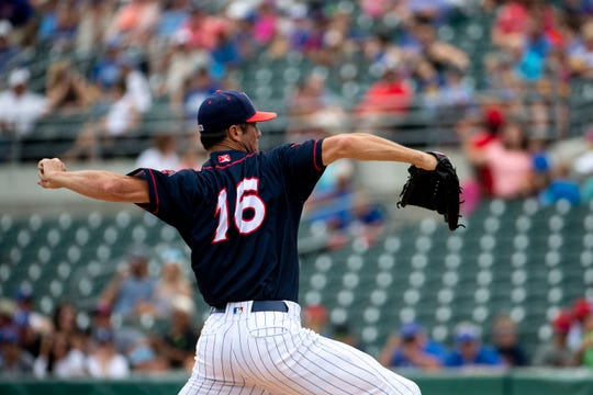 Chicago Cubs' Cole Hamels pitches for the Iowa Cubs on Sunday, July 28, 2019, at Principal Park in Des Moines.