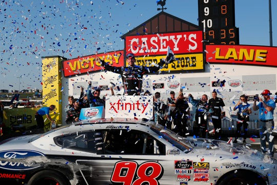 Chase Briscoe collected his first win of the 2019 season at Iowa Speedway, pushing his No. 98 Ford into the Xfinity Series playoffs.