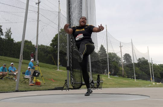 Laulauga Tausaga of Iowa places third in the women's discus with a throw of 203-8 (62.08 meters) during the USATF Championships at Drake Stadium on Sunday, July 28, 2019, in Des Moines.