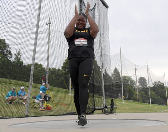 Laulauga Tausaga of Iowa celebrates after placing third in the women's discus with a throw of 203-8 (62.08 meters) during the USATF Championships at Drake Stadium on Sunday, July 28, 2019, in Des Moines.
