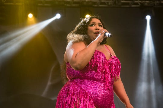 Lizzo performs at the River Stage of Mo Pop Festival at West Riverfront Park in Detroit,   Saturday, July 27, 2019.