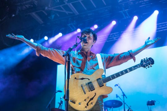 Vampire Weekend performs at the Mo Pop Festival in Detroit's West Riverfront Park on Saturday, July 27, 2019.