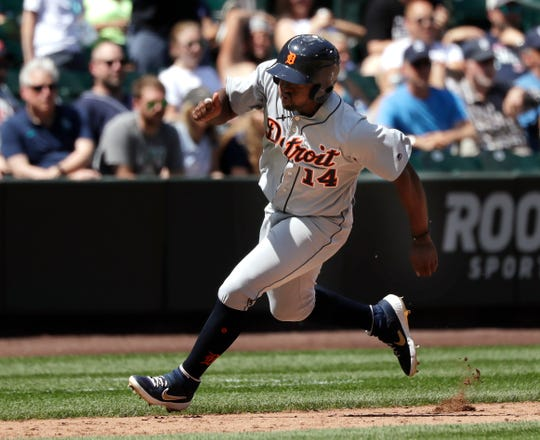 Tigers left fielder Christin Stewart heads down the third base line to score in the fifth inning on Sunday, July 28, 2019, in Seattle.