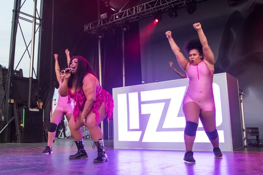 Lizzo performs at the Mo Pop Festival at West Riverfront Park in Detroit, Saturday, July 27, 2019.