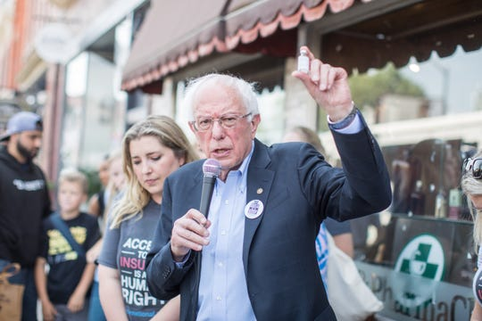 Democratic presidential candidate and U.S. Sen. Bernie Sanders talks about the cost of insulin in the U.S.  versus Canada as he joins a group of people with diabetes on a trip to Canada to purchase affordable Insulin on July 28, 2019 in Windsor, Ontario.