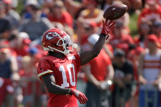 "Chiefs receiver Tyreek Hill said, ""I'm on a new journey as far as me growing as a father and as a human."""