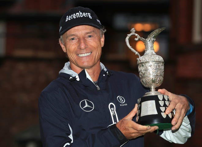 Bernhard Langer poses after winning the Senior British Open at Royal Lytham & St Annes Golf Club in England on Sunday.