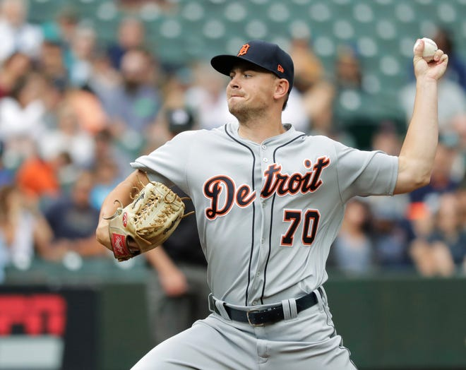 Tigers starting pitcher Tyler Alexander struck out nine in 4.1 innings on Saturday.