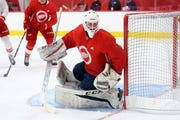 Goaltender Jesper Eliasson was in Detroit last month for the Red Wings' development camp at Little Caesars Arena.