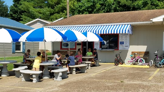 Diners gather to enjoy ice cream, burgers and sandwiches at the Rivertown Ice Cream and Grill on July 22, 2019.