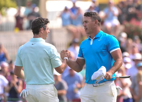 Rory Mcilroy and Brooks Koepka during the final round of the WGC-FedEx St. Jude Invitational on Sunday, July 28, 2019 at TPC Southwind in Memphis, Tenn.