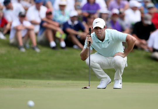 Rory McIlroy looks over a putt on No. 9 during the final round of the WGC-FedEx St. Jude Invitational on Sunday, July 28, 2019 at TPC Southwind in Memphis, Tenn.