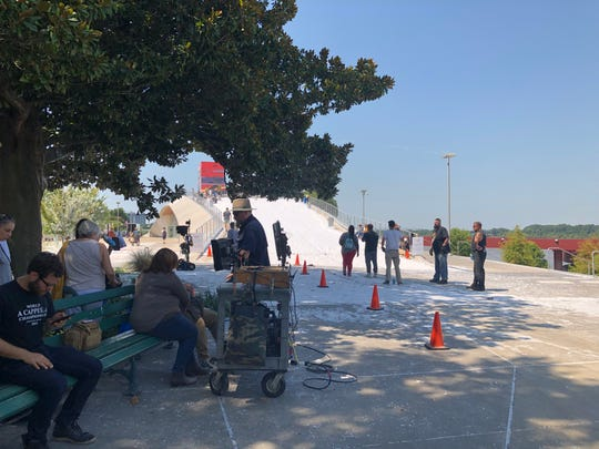 "Hallmark Channel covered the hill at Beale Street landing in fake snow on Sunday, July 28 to film a scene for ""Christmas at Graceland 2."""