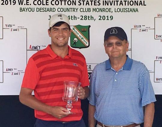 Ole Miss's Charlie Miller (left) received the 2019 W.E. Cole Cotton States Invitational Golf Tournament Championship Trophy from Tournament Director Stuart Causey (right) after defeating his Jackson Prep high school teammate in University of Alabama's Sims Abney (Not Pictured) in the championship round on Sunday, July27 at Bayou DeSiard Country Club.