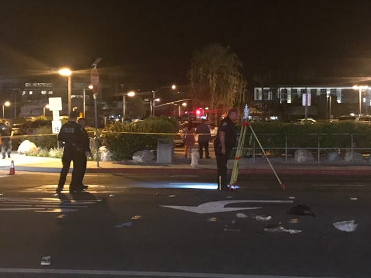 Palm Springs police investigate a collision involving two pedestrians on July 27, 2019. A woman died and a Palm Springs man was arrested after fleeing the scene.