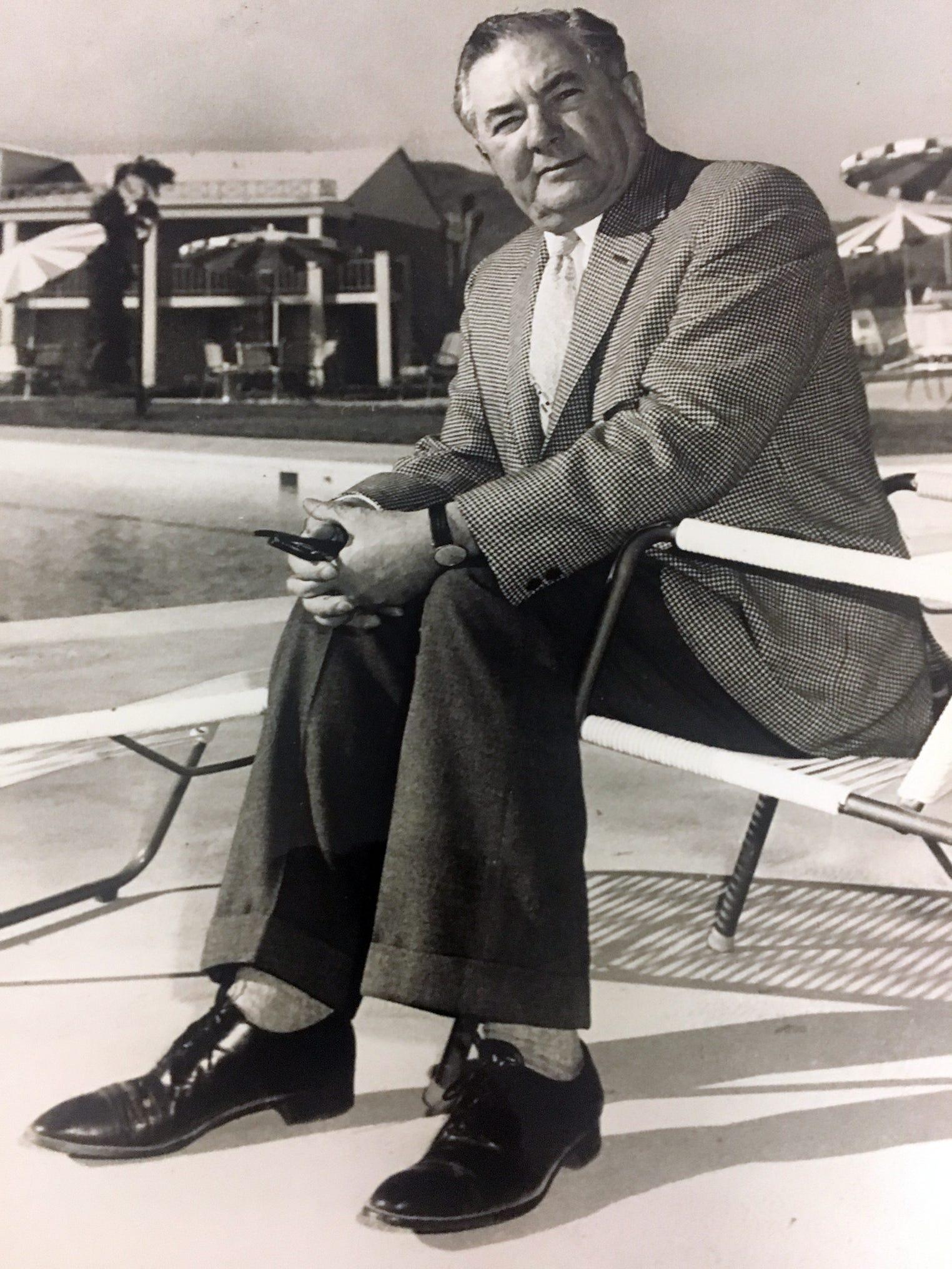 Peter Licavoli Sr. at a Tucson motel. Year unknown.