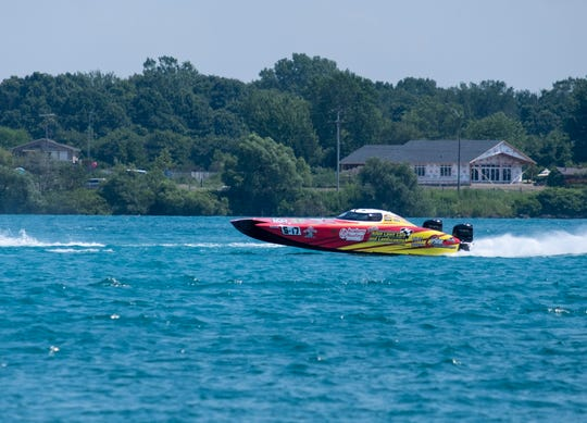 Team Allen Lawn Care competes in the St. Clair River Classic Offshore Powerboat Races Sunday, July 27, 2019, on the St. Clair River.