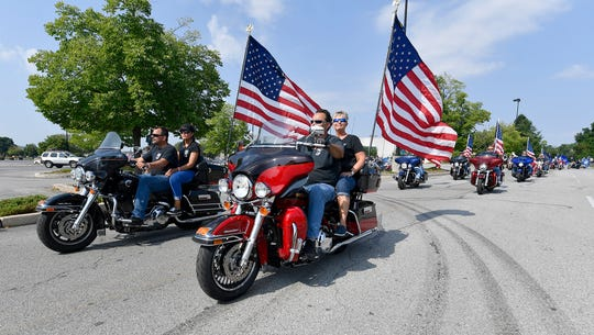 More than 200 motorcyclists take part in the 16th Annual Bike Run to Benefit Homes for Our Troops from Texas Roadhouse in York to Battlefield Harley Davidson in Gettysburg, Sunday, July 28, 2019. John A. Pavoncello photo