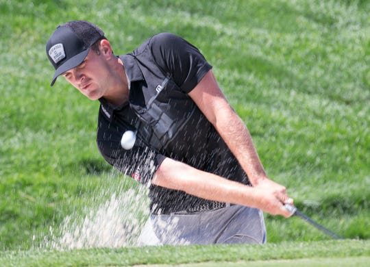 Will Gordon hits out of a sand trap on the 2nd green during the Barracuda Championship PGA golf tournament at Montrêux Golf and Country Club in Reno on Saturday.