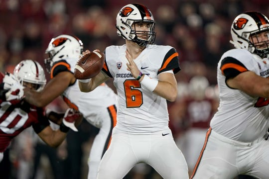 Former Ventura College quarterback Jake Luton made five starts for Oregon State last season, throwing for 1,660 yards and 10 touchdowns.