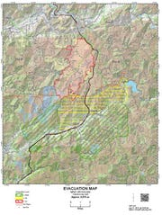 Oregon Department of Forestry evacuation map for July 28, 2019 using the information from the Douglas County Sheriff's office evacuation notice.