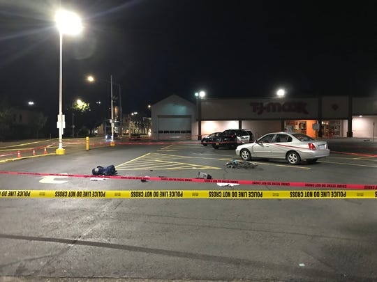 Authorities are at the scene of a car-bicycle crash that occurred in the T.J. Maxx parking lot near Commercial and Marion streets NE on July 27, 2019