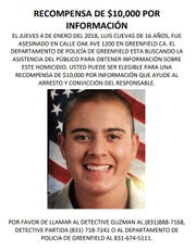 Reward for information leading to arrest and conviction of those involved in Luis Cuevas Gonzales' 2018 shooting death in Greenfield, California.