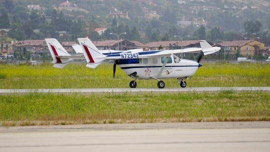 The Ampaire modified Cessna 337 Skymaster takes its initial test flight in early June at the Camarillo Airport.