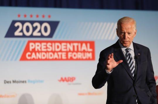 Former Vice President Joe Biden on July 15, 2019, in Des Moines, Iowa.