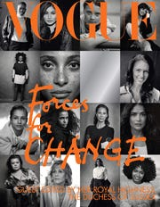 """The cover of British Vogue's September issue, entitled """"Forces for Change,"""" showing photographs by Peter Lindbergh, is guest edited by Meghan, Duchess of Sussex."""