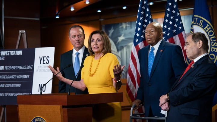 From left, House Democratic leaders Adam Schiff, Nancy Pelosi, Elijah Cummings and Jerrold Nadler.