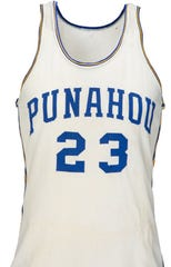 Barack Obama's No. 23 jersey from Punahou High School championship team in 1978-79.